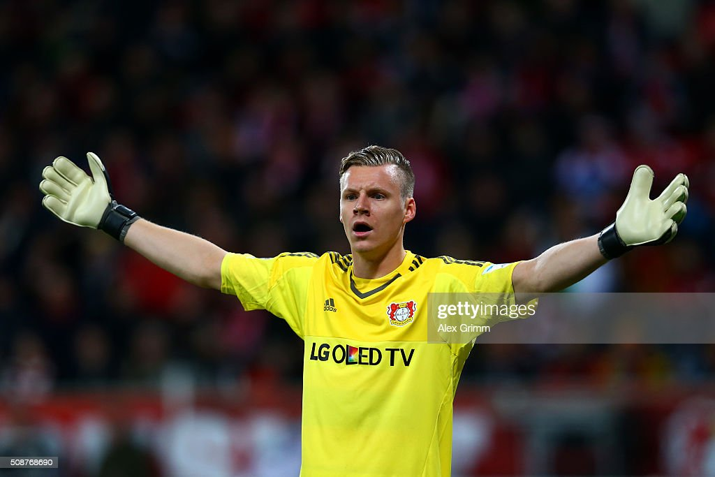 <a gi-track='captionPersonalityLinkClicked' href=/galleries/search?phrase=Bernd+Leno&family=editorial&specificpeople=5528639 ng-click='$event.stopPropagation()'>Bernd Leno</a> of Bayer Leverkusen reacts during the Bundesliga match between Bayer Leverkusen and FC Bayern Muenchen at BayArena on February 6, 2016 in Leverkusen, Germany.