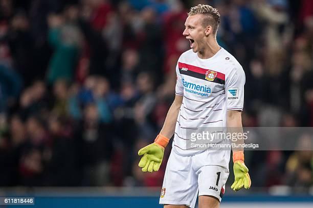 Bernd Leno of Leverkusen celebrates his team's second goal during the Bundesliga match between Bayer 04 Leverkusen and Borussia Dortmund at BayArena...