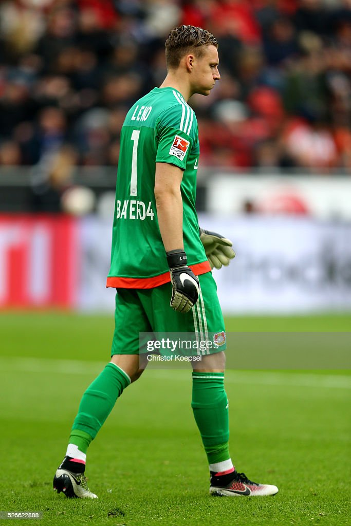 Bernd Leno of Leverkusen looks thoughtful during the Bundesliga match between Bayer Leverkusen and Hertha BSC Berlin at BayArena on April 30, 2016 in Leverkusen, Germany.