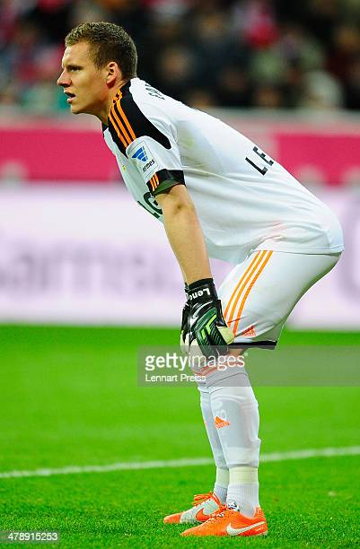 Bernd Leno of Leverkusen reacts during the Bundesliga match between FC Bayern Muenchen and Bayer 04 Leverkusen at Allianz Arena on March 15 2014 in...