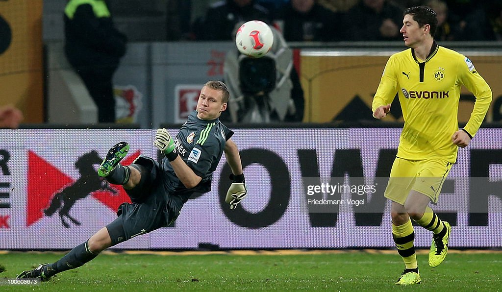 Bernd Leno of Leverkusen shoot the ball during the Bundesliga match between Bayer 04 Leverkusen and Borussia Dortmund at BayArena on February 3, 2013 in Leverkusen, Germany.