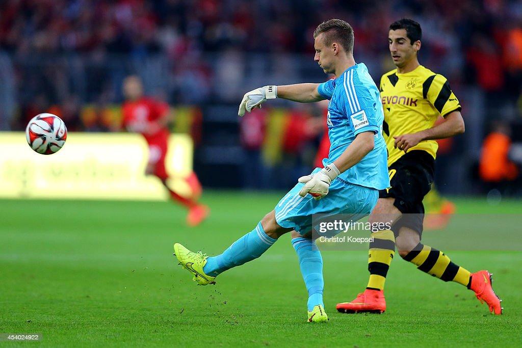 Bernd Leno of Leverkusen shoots the ball during the Bundesliga match between Borussia Dortmund and Bayer 04 Leverkusen at Signal Iduna Park on August 23, 2014 in Dortmund, Germany.