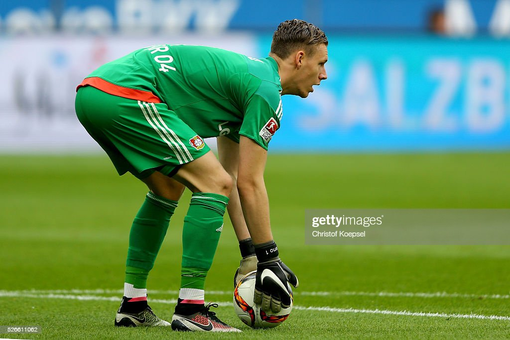 <a gi-track='captionPersonalityLinkClicked' href=/galleries/search?phrase=Bernd+Leno&family=editorial&specificpeople=5528639 ng-click='$event.stopPropagation()'>Bernd Leno</a> of Leverkusen throws the ball during the Bundesliga match between Bayer Leverkusen and Hertha BSC Berlin at BayArena on April 30, 2016 in Leverkusen, Germany.