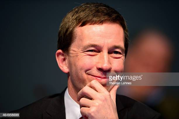 Bernd Lucke appears at the European Congress of the new antieuro party 'Alternative fuer Deutschland' on January 25 2014 in Aschaffenburg Germany The...