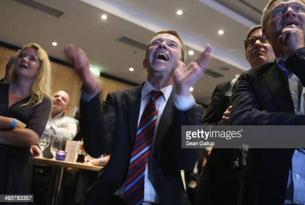 Bernd Lucke head of the Alternative fuer Deutschland political party reacts to election results that gave the AfD a very strong showing in European...