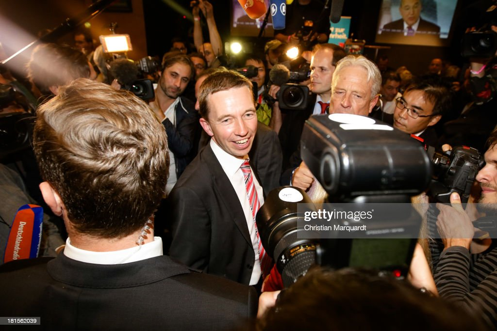Bernd Lucke, head of the Euro-skeptic political party Alternative fuer Deutschland (AfD), talks to the media after the poll results that give the party 4.9% of the vote in German federal elections at AfD party headquarters on September 22, 2013 in Berlin, Germany. Germany is holding federal elections that will determine whether current Chancellor Angela Merkel of the German Christian Democrats (CDU) will remain for a third term. Though the CDU has a strong lead over the opposition, speculations run wide as to what coalition will be viable in coming weeks to create a new government.Photo by Christian Marquardt/Getty Images)