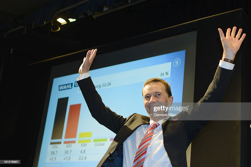 Bernd Lucke, head of the Euro-skeptic political party Alternative fuer Deutschland (AfD), greets his supporters during German federal elections at Alternative fuer Deutschland party headquarters on September 22, 2013 in Berlin, Germany. Germany is holding federal elections that will determine whether current Chancellor Angela Merkel of the German Christian Democrats (CDU) will remain for a third term. Though the CDU has a strong lead over the opposition, speculations run wide as to what coalition will be viable in coming weeks to create a new government.