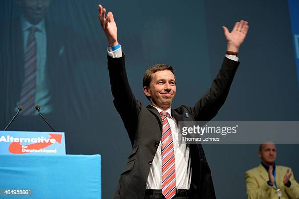 Bernd Lucke reacts after his speech at the European Congress of the new antieuro party 'Alternative fuer Deutschland' on January 25 2014 in...