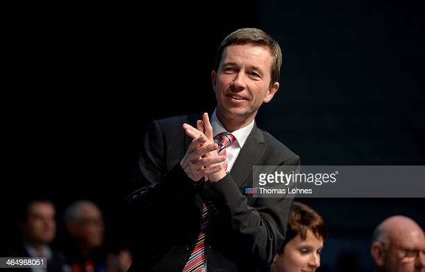 Bernd Lucke reacts at the European Congress of the new antieuro party 'Alternative fuer Deutschland' on January 25 2014 in Aschaffenburg Germany The...