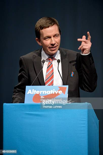 Bernd Lucke speaks at the European Congress of the new antieuro party 'Alternative fuer Deutschland' on January 25 2014 in Aschaffenburg Germany The...