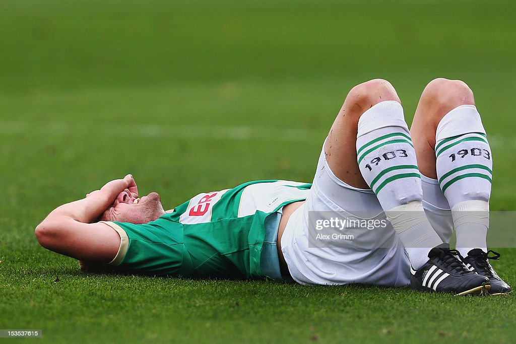 Bernd Nehrig of Greuther Fuerth reacts during the Bundesliga match between SpVgg Greuther Fuerth and Hamburger SV at Trolli-Arena on October 6, 2012 in Fuerth, Germany.