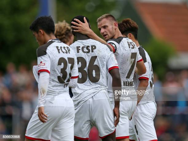 Bernd Nehrig of St Pauli celebrates after scoring his team`s first goal during the preseason friendly match between VfB Oldenburg and FC St Pauli on...