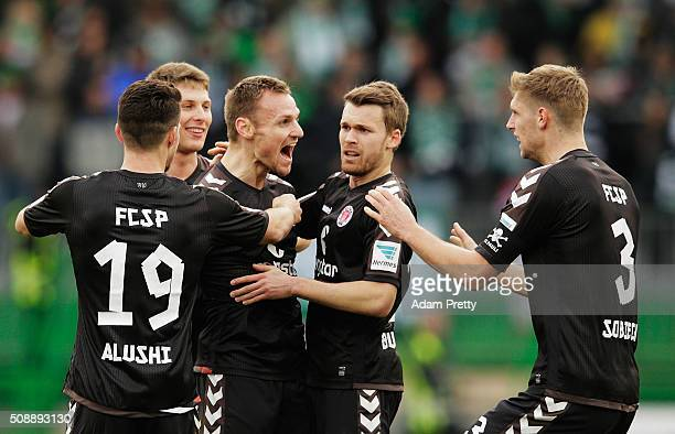 Bernd Nehrig of St Pauli celebrates scoring a goal with Lasse Sobiech of St Pauli during the 2 Bundesliga match between Greuther Fuerth and FC St...