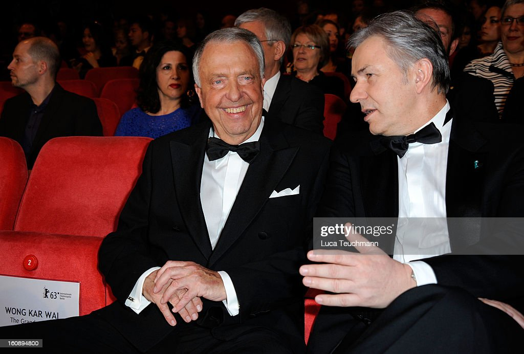 Bernd Neumann (L) and Klaus Wowereit during the Opening Ceremony of the 63rd Berlinale International Film Festival at the Berlinale Palast on February 7, 2013 in Berlin, Germany.