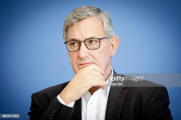 Bernd Riexinger chairman of the Left Party gives a press conference on October 16 2017 in Berlin Germany