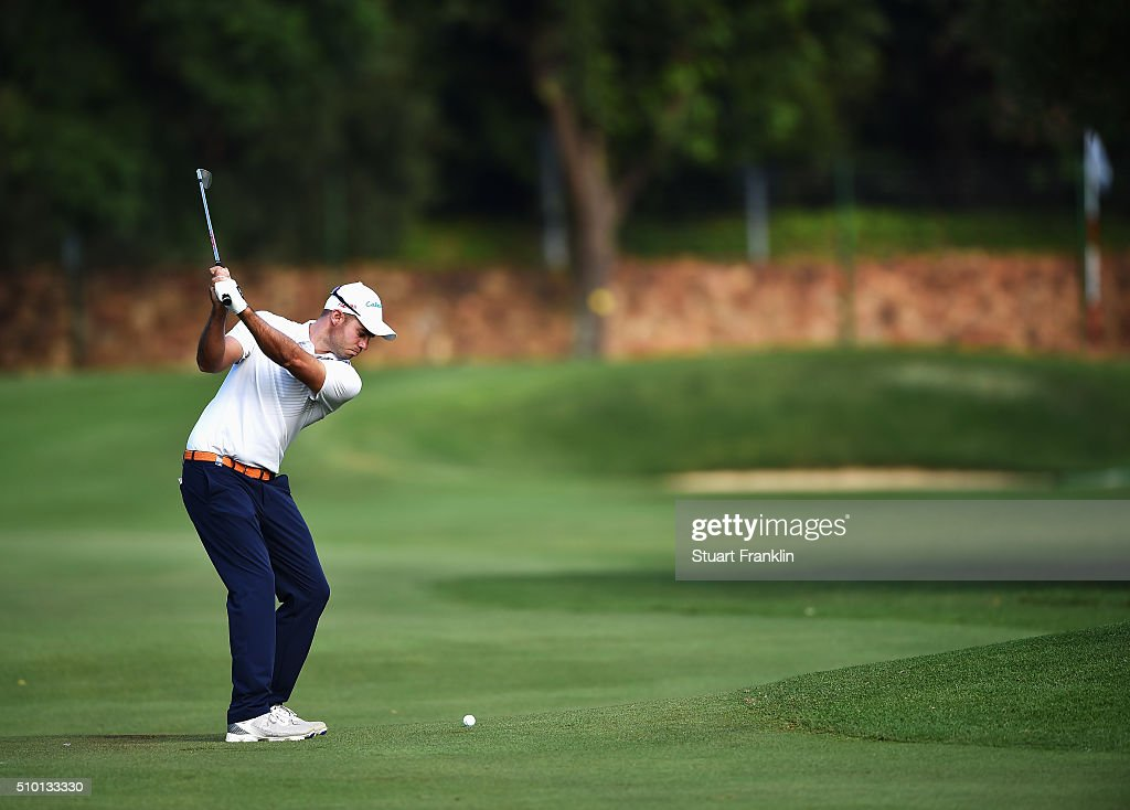 Bernd Ritthammer of Germany plays a shot during the final round of the Tshwane Open at Pretoria Country Club on February 14, 2016 in Pretoria, South Africa.