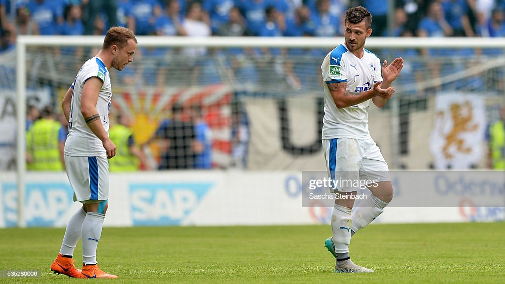 Bernd Rosinger (R) of Lotte celebrates with team mate Nico Granatowski (L) after scoring his team's second goal during the 3. Liga playoff leg 2 match between Waldhof Mannheim and Sportfreunde Lotte at Carl-Benz-Stadion on May 29, 2016 in Lotte, Germany.