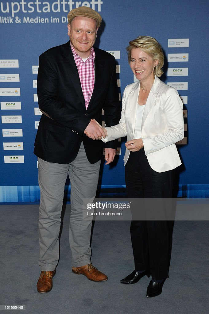 Bernd Schloemer and <a gi-track='captionPersonalityLinkClicked' href=/galleries/search?phrase=Ursula+von+der+Leyen&family=editorial&specificpeople=4249207 ng-click='$event.stopPropagation()'>Ursula von der Leyen</a> attends the ARD Haupstadttreff reception on on September 13, 2012 in Berlin, Germany.