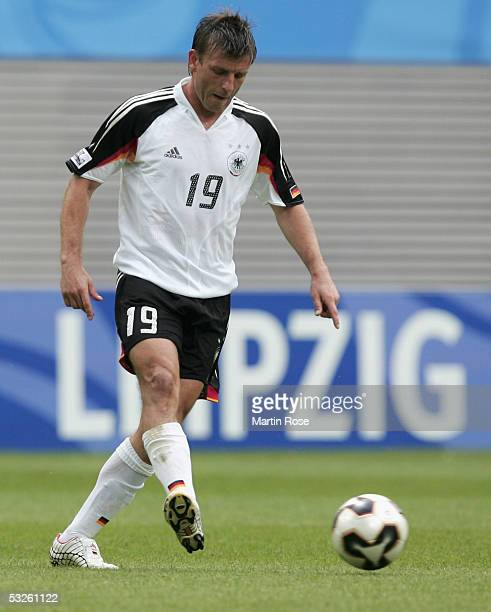 Bernd Schneider of Germany runs with the ball during the game between Germany and Mexico for the third place at the FIFA Confederations Cup 2005 at...