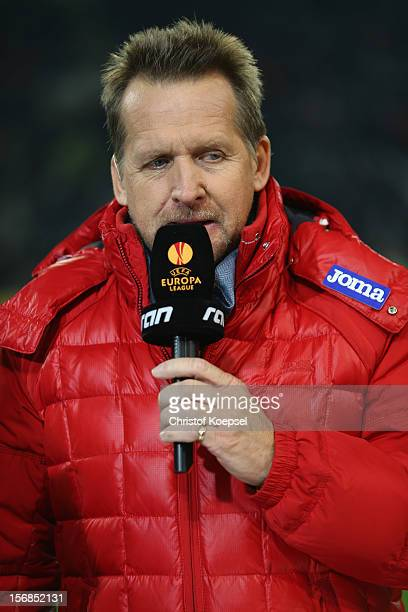 Bernd Schuster expert of ran television channel looks on prior to the UEFA Europa League group C match between Borussia Moenchengladbach and AEL...
