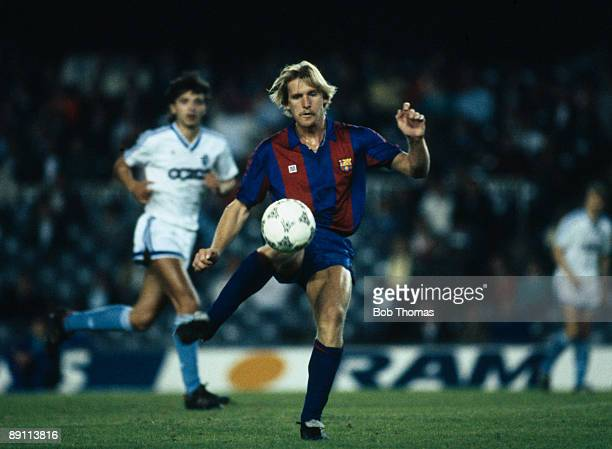 Bernd Schuster in action for Barcelona against Dynamo Moscow in the UEFA Cup 2nd round 1st leg at the Nou Camp Stadium in Barcelona 21st October 1987...