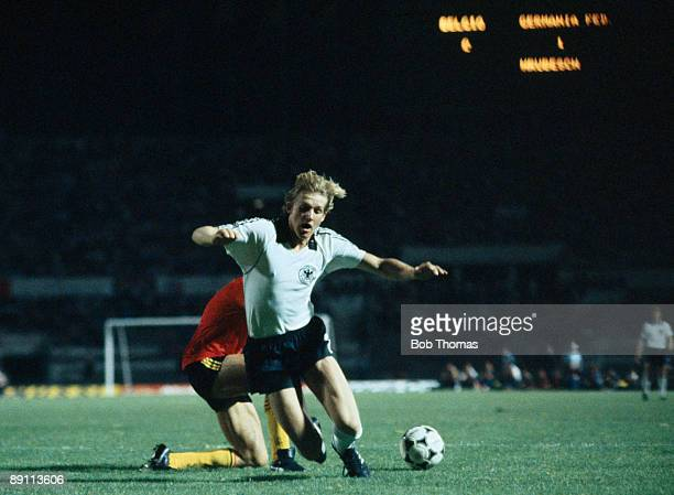 Bernd Schuster in action for West Germany against Belgium in the European Championship Final at the Olympic Stadium in Rome 22nd June 1980 West...