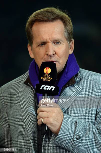Bernd Schuster is seen prior to the UEFA Europa League group C match between Borussia Moenchengladbach and Olympique de Marseille at Borussia Park on...