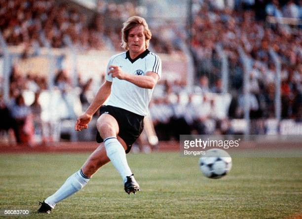 Bernd Schuster of Germany in action during the friendly match between Yugoslavia and Germany at the Josy Barthel Stadium on June 7 1983 in Luxembourg...