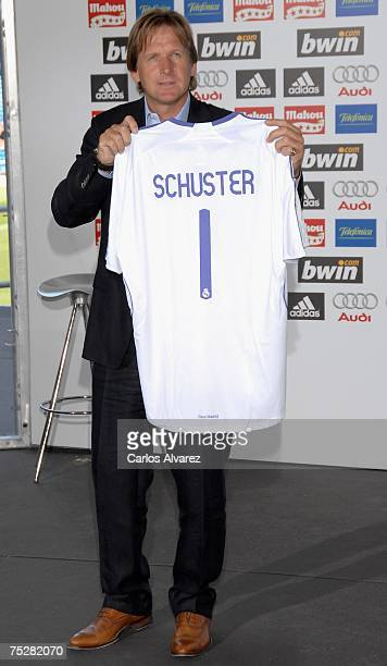 Bernd Schuster poses during his official presentation as new coach of Real Madrid at Santiago Bernabeu Stadium on July 9 2007 in Madrid Spain