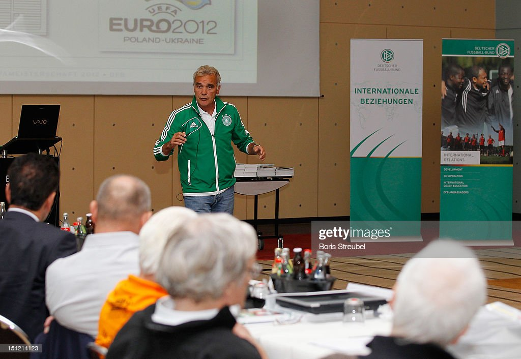 Bernd Stoeber of the German football association (DFB) delivers a speech during the International Experts Meeting at Grand Hotel Esplanade on October 16, 2012 in Berlin, Germany.