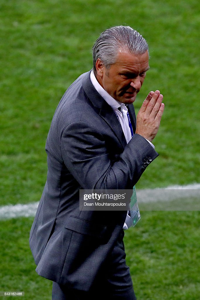 Bernd Storck head coach of Hungary gestures during the UEFA EURO 2016 round of 16 match between Hungary and Belgium at Stadium Municipal on June 26, 2016 in Toulouse, France.