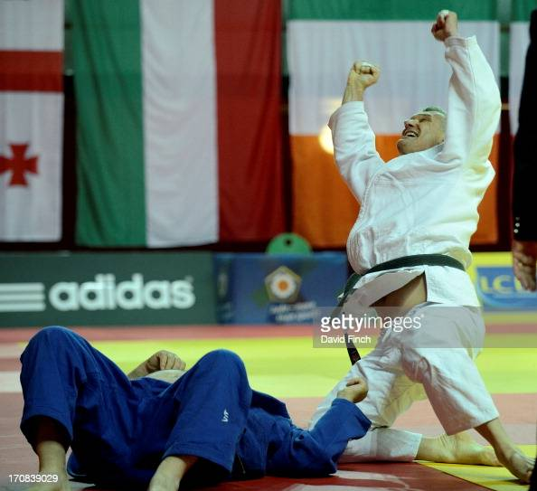Bernd Weigand of Germany defeated Giuseppe Macri of Italy to win the M6 o100kgs bronze medal during day three of the 2013 European Veteran Judo...