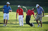 Bernd Wiesberger of Austraia Andy Sullivan of England Thomas Pieters of Belgium and Peter Uihlein of the USA take part in the All Sports Challenge on...