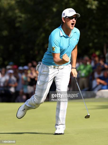 Bernd Wiesberger of Austria celebrates his birdie putt on the last hole during the final round of the Austrian Open at Diamond Country Club on July...