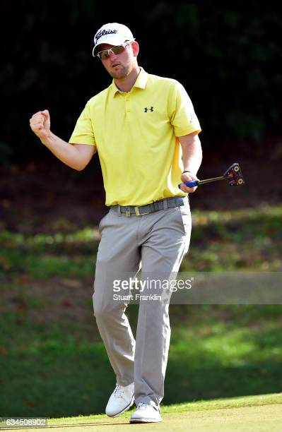 Bernd Wiesberger of Austria celebrates his eighth consecutive birdie on the 15th hole during Day Two of the Maybank Championship Malaysia at Saujana...