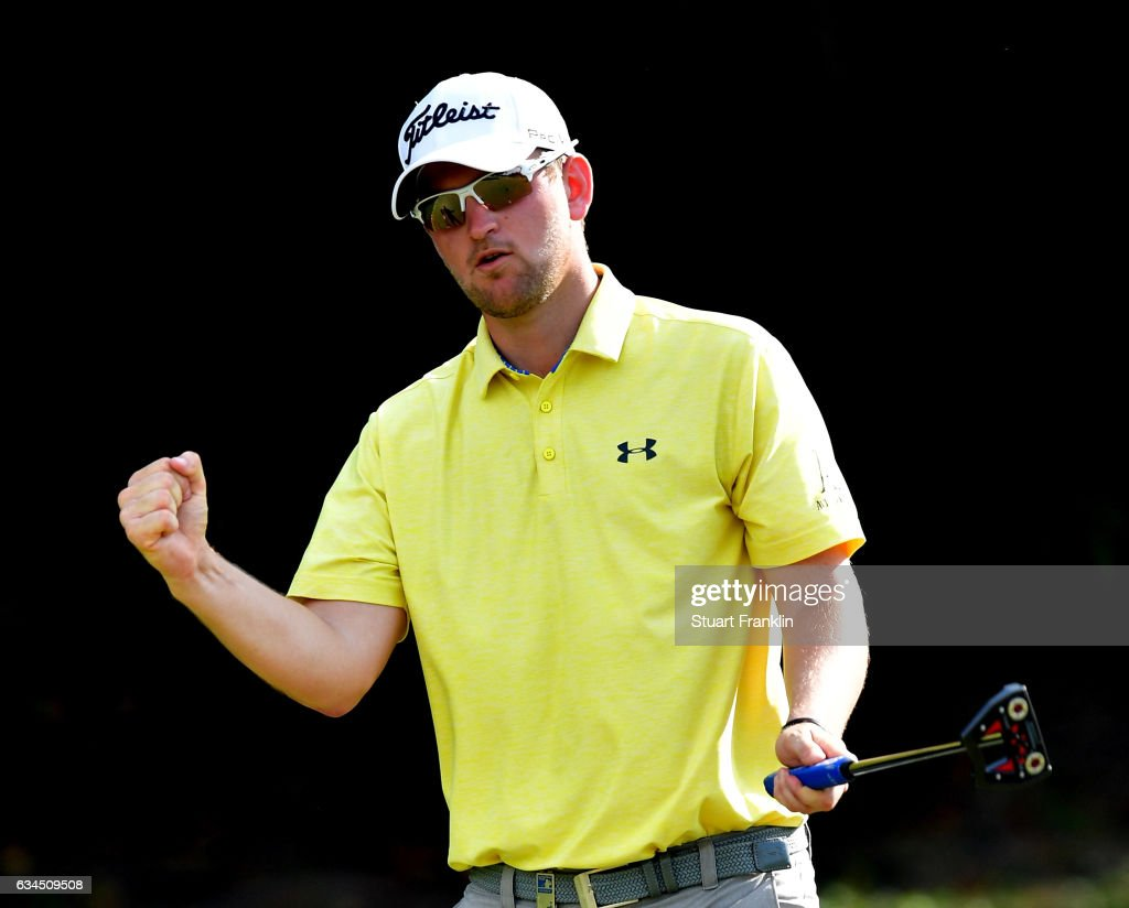 Bernd Wiesberger of Austria celebrates his eighth consecutive birdie on the 15th hole during Day Two of the Maybank Championship Malaysia at Saujana Golf Club on February 10, 2017 in Kuala Lumpur, Malaysia.