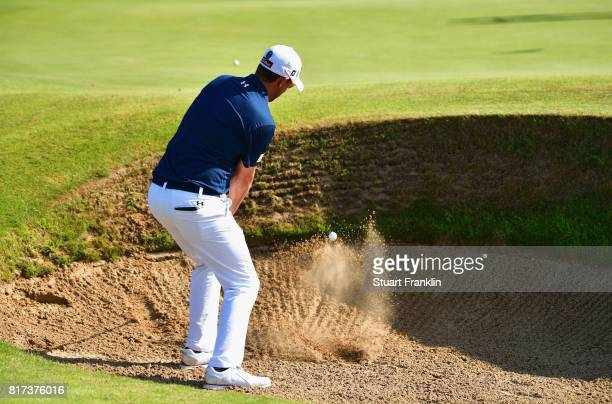 Bernd Wiesberger of Austria hits a bunker shot during a practice round prior to the 146th Open Championship at Royal Birkdale on July 18 2017 in...