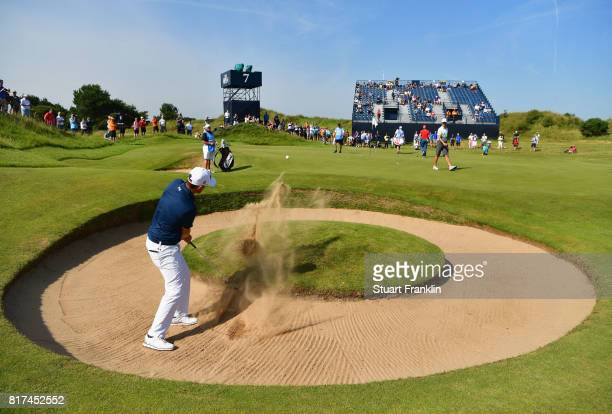 Bernd Wiesberger of Austria hits a bunker shot on the 7th hole during a practice round prior to the 146th Open Championship at Royal Birkdale on July...