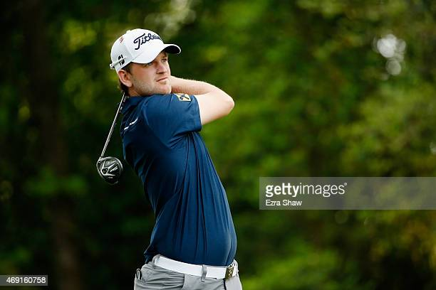 Bernd Wiesberger of Austria hits his tee shot on the second hole during the second round of the 2015 Masters Tournament at Augusta National Golf Club...