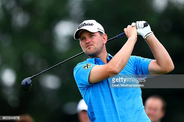 Bernd Wiesberger of Austria hits his tee shot ont he 5th during the final round on day four of the KLM Open at The Dutch on September 11 2016 in...