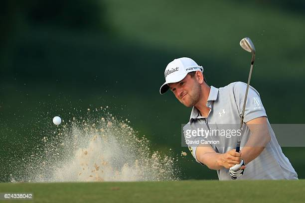 Bernd Wiesberger of Austria hits his third shot on the 14th hole during day three of the DP World Tour Championship at Jumeirah Golf Estates on...