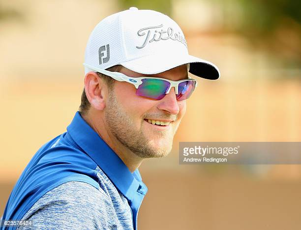 Bernd Wiesberger of Austria is pictured during practice prior to the start of the DP World Tour Championship on the Earth Course at Jumeirah Golf...