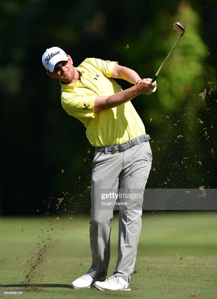 Bernd Wiesberger of Austria plays a shot during Day Two of the Maybank Championship Malaysia at Saujana Golf Club on February 10, 2017 in Kuala Lumpur, Malaysia.