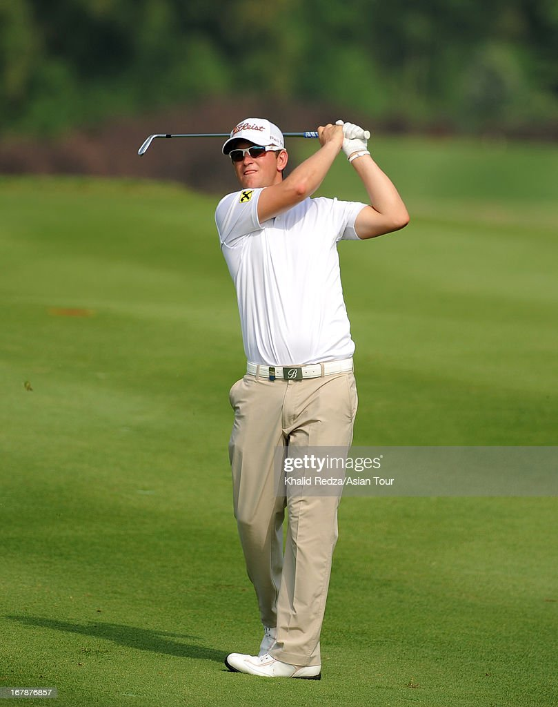 Bernd Wiesberger of Austria plays a shot during round one of the Indonesian Masters at Royale Jakarta Golf Club on May 2, 2013 in Jakarta, Indonesia.