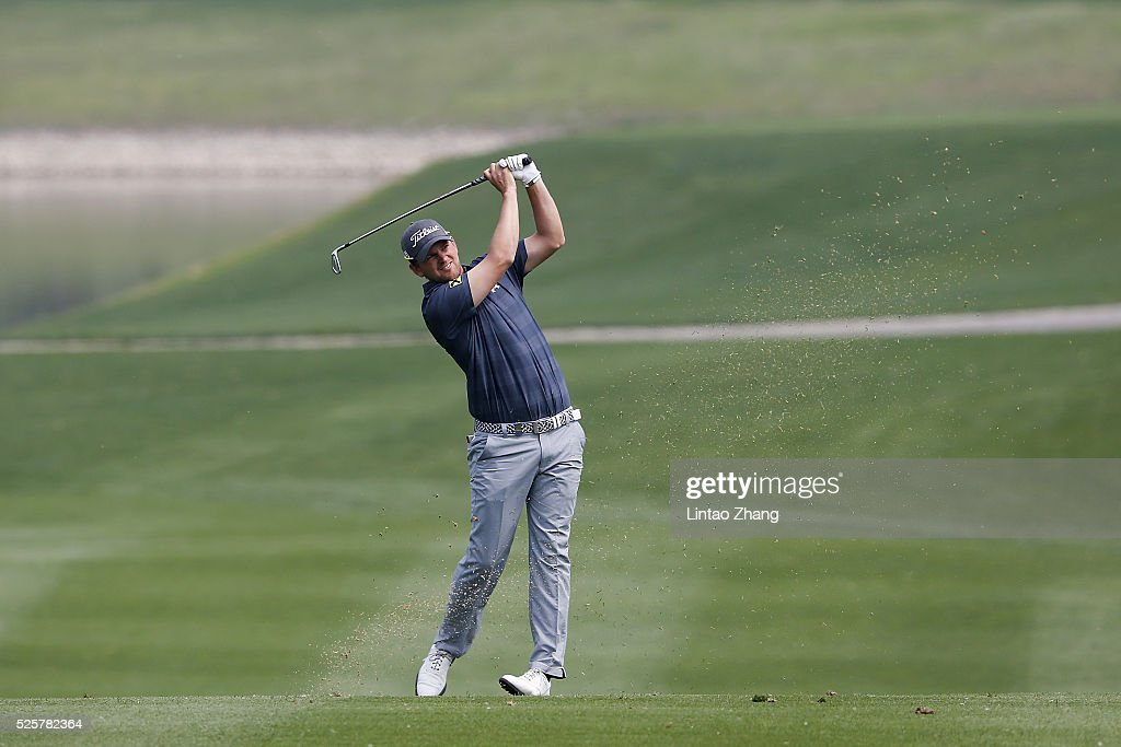 Bernd Wiesberger of Austria plays a shot during the second round of the Volvo China open at Topwin Golf and Country Club on April 28, 2016 in Beijing, China.