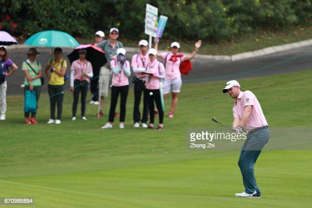 Bernd Wiesberger of Austria plays a shot during the second round of the Shenzhen International at Genzon Golf Club on April 21 2017 in Shenzhen China