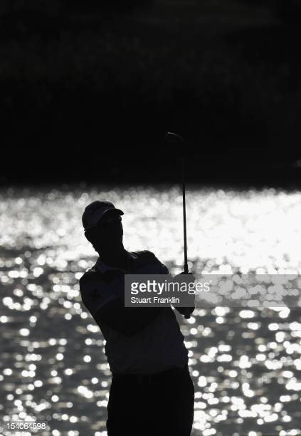 Bernd Wiesberger of Austria plays a shot during the third round of the Portugal Masters at the Victoria golf course at Villamoura on October 13 2012...