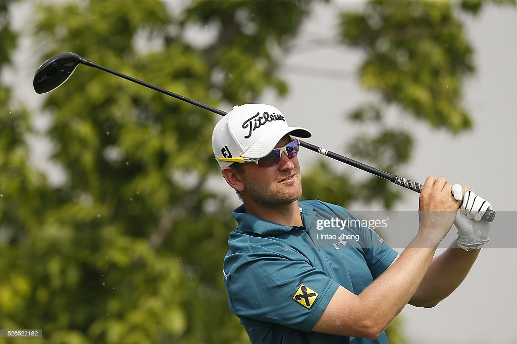 Bernd Wiesberger of Austria plays a shot during the third round of the Volvo China open at Topwin Golf and Country Club on April 30, 2016 in Beijing, China. (Photo by Lintao Zhang/Getty Images)\