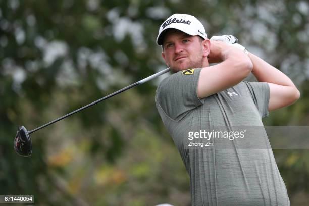 Bernd Wiesberger of Austria plays a shot during the third round of the Shenzhen International at Genzon Golf Club on April 22 2017 in Shenzhen China