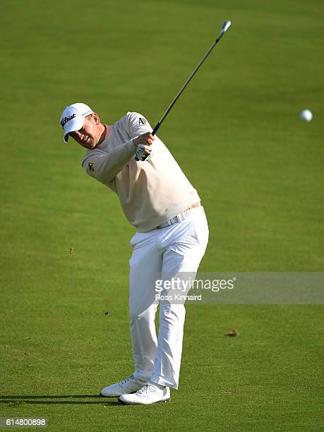 Bernd Wiesberger of Austria plays his second shot on the eighth hole during the third round of the British Masters at The Grove on October 15 2016 in...